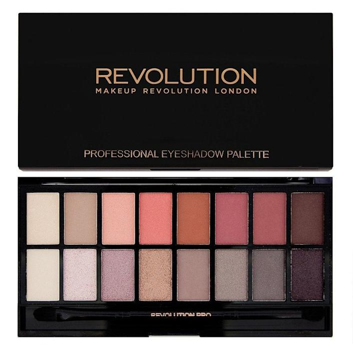 <p>Consider the <span>Makeup Revolution New-Trals vs Neutrals Eyeshadow Palette</span> ($17) your ultimate library of natural shades. Customers say that the colors pop on their skin and the pigmentation is impressive for such an affordable palette. Wet your brush and use the chocolate brown or black as eyeliner as well. </p>