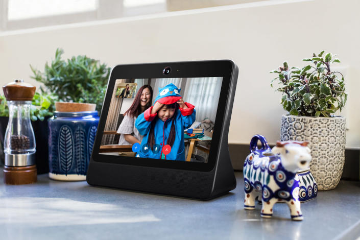 This image provided by Facebook shows the company's product called Portal. Facebook is marketing the device Portal, as a way for its more than 2 billion users to chat with one another without having to fuss with positioning and other controls. (Facebook via AP)