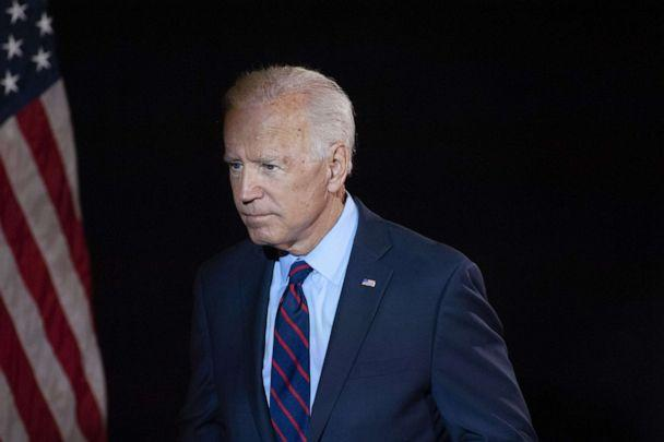 PHOTO: Democratic presidential candidate former Vice President Joe Biden exits after making remarks about the DNI Whistleblower Report as well as President Trumps ongoing abuse of power at the Hotel DuPont on Sept. 24, 2019 in Wilmington, Del. (William Thomas Cain/Getty Images)