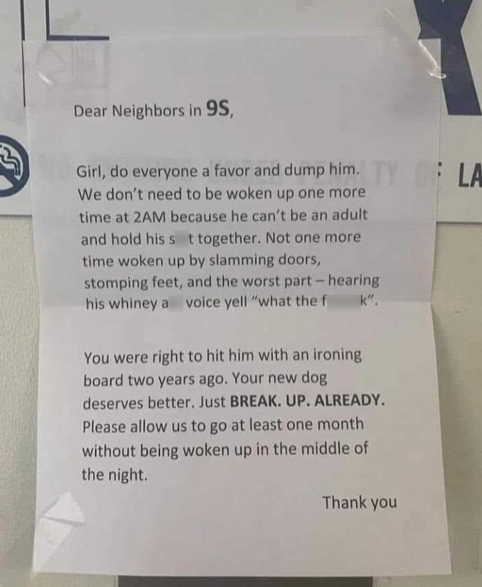 The note shared to Reddit urged the couple to break up, following disturbances in the middle of the night. Source: Reddit