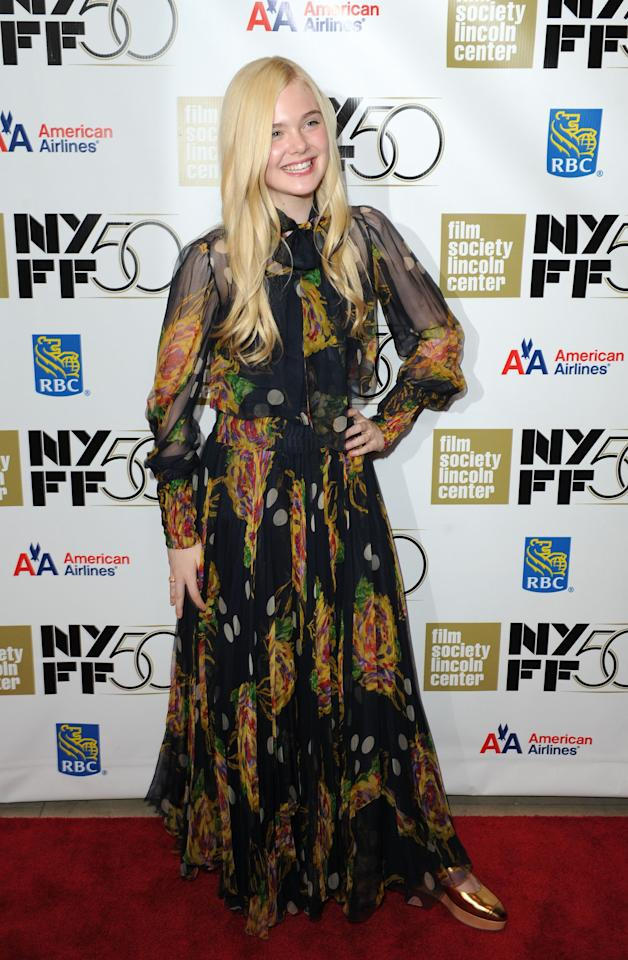 "NEW YORK, NY - OCTOBER 08:  Elle Fanning attends the ""Ginger And Rosa"" premiere during the 50th New York Film Festival at Alice Tully Hall at Lincoln Center on October 8, 2012 in New York City.  (Photo by Craig Barritt/Getty Images)"