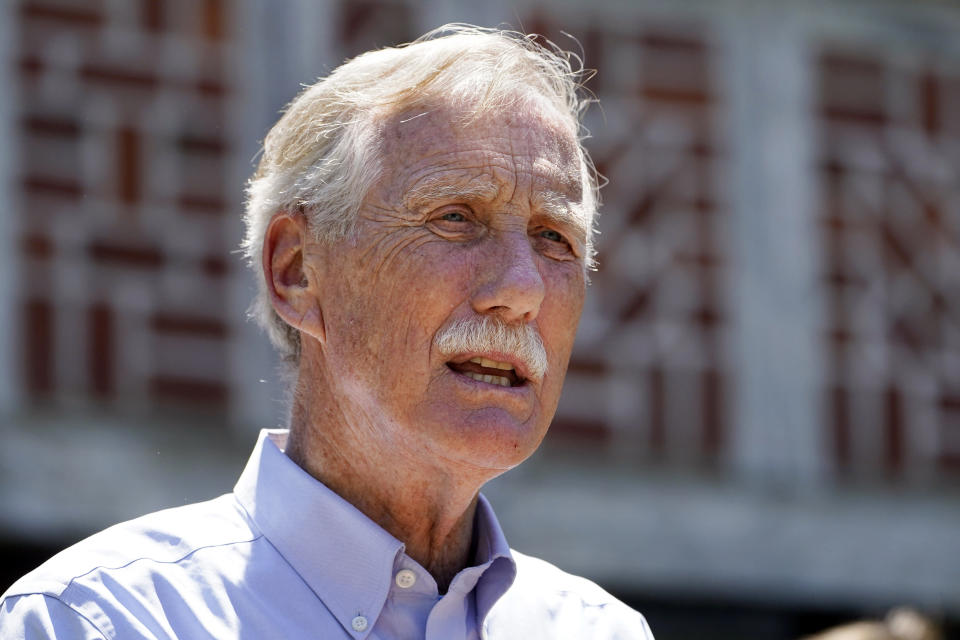 FILE - In this June 18, 2021, file photo, U.S. Sen. Angus King, I-Maine, speaks at Acadia National Park in Winter Harbor, Maine. King tested positive for COVID-19 on Thursday, Aug. 19, 2021, a day after he began feeling under the weather, his office announced. (AP Photo/Robert F. Bukaty, File)
