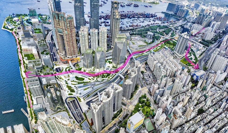 Sun Hung Kai Properties has submitted a new design for its West Kowloon project that calls for plenty of green cover. Photo: Handout