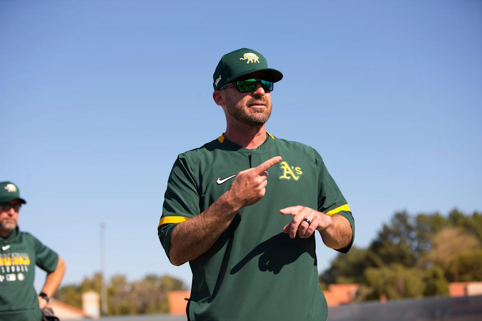 Bench Coach Ryan Christenson #29 of the Oakland Athletics.