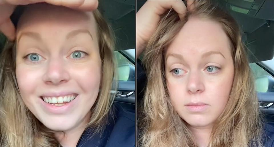 Screenshot from Sunny Brooke's TikTok close up of her face book straight.