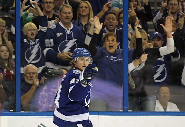 TAMPA, FL - MARCH 06: Steven Stamkos #91 of the Tampa Bay Lightning celebrates his power play goal at 5:41 of the third period against the Ottawa Senators at the Tampa Bay Times Forum on March 6, 2012 in Tampa, Florida. The Senators defeated the Lightning 7-3. (Photo by Bruce Bennett/Getty Images)