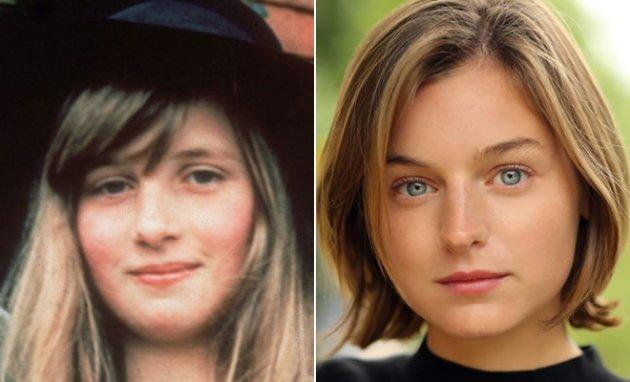 Left: Young Princess Diana. Right: Emma Corrin.