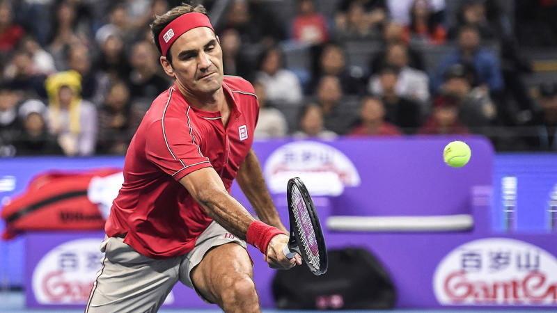 Roger Federer, pictured here in action in China in 2019.