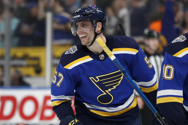 St. Louis Blues' David Perron celebrates after scoring during the second period of an NHL hockey game against the Buffalo Sabres, Thursday, Jan. 9, 2020, in St. Louis. (AP Photo/Jeff Roberson)