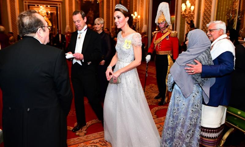 8629d6b2f0f The Duchess of Cambridge wows in Lover s Knot tiara at the Queen s annual  Diplomatic Corps Reception (PA)