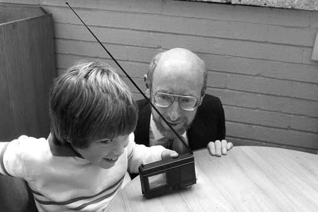 Sir Clive Sinclair shows off his pocket television