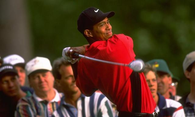 "<span class=""element-image__caption"">Tiger Woods on the 15th on the final day of the Masters in 1997. The American has gone on to win it three more times but will not play this week.</span> <span class=""element-image__credit"">Photograph: David Cannon/Getty Images</span>"
