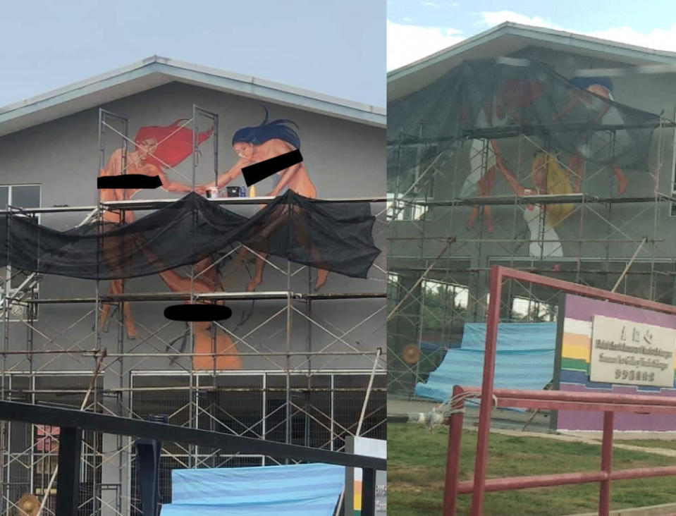 The artists explained that the mural was still a work in progress when it featured three naked women. — Screengrabs from Facebook/Nor Zigan Zigan
