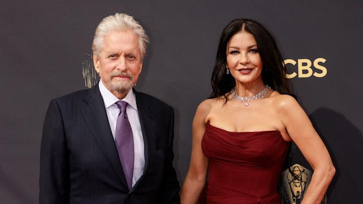 """Michael Douglas and Catherine Zeta-Jones wished each other a happy birthday in sweet Instagram tributes. They share the same birthday, Sept. 25. <span class=""""copyright"""">Photo by Francis Specker/CBS via Getty Images</span>"""