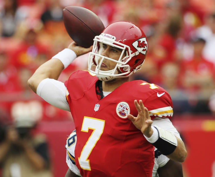 Kansas City Chiefs quarterback Matt Cassel (7) passes to a teammate during the first half of an NFL football game against the San Diego Chargers at Arrowhead Stadium in Kansas City, Mo., Sunday, Sept. 30, 2012. (AP Photo/Colin E. Braley)
