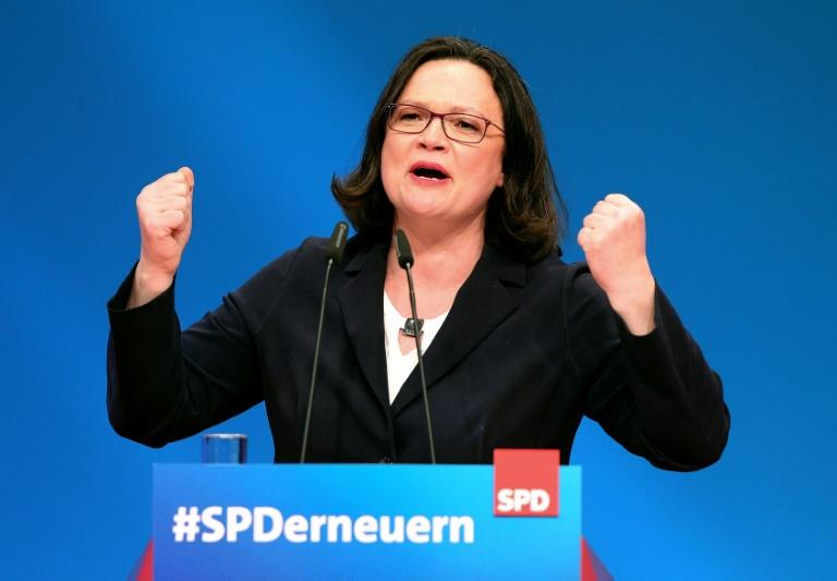 """A single mum and SPD stalwart, Andrea Nahles hailed her appointment as the party's first female leader as """"breaking through the glass ceiling"""""""