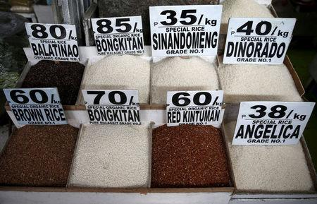 Different rice varieties are pictured at a food stall in the mountain resort of Baguio city in northern Philippines April 17, 2016. REUTERS/Erik De Castro/File Photo