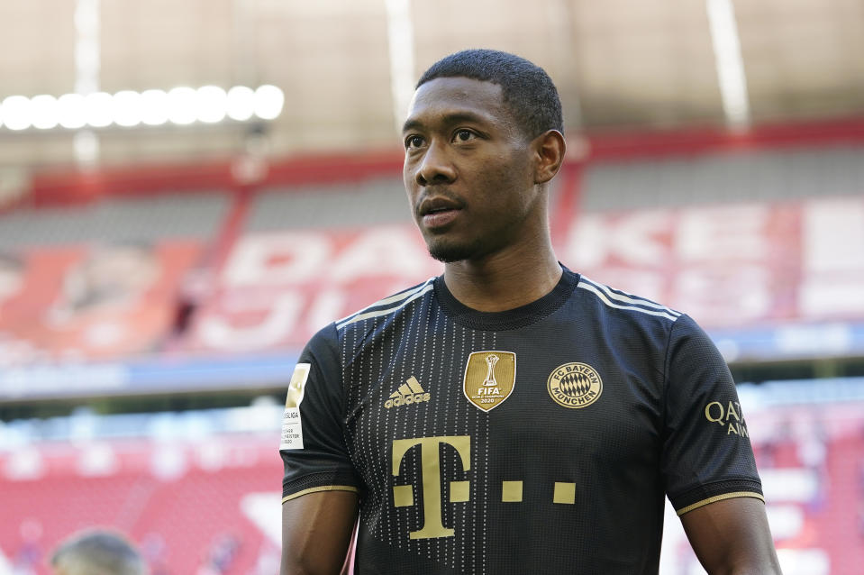 MUNICH, GERMANY - MAY 22: David Alaba of FC Bayern Muenchen is pictured ahead of the season's last Bundesliga match between FC Bayern Muenchen and FC Augsburg at Allianz Arena on May 22, 2021 in Munich, Germany. After the Bavarian cabinet decided on first relaxations for outdoor events, the current Corona situation allows FC Bayern to have its last match of the season in front of 250 spectators in the Allianz Arena. Of these, 100 tickets are given to people from the health sector selected by the Ministry of Health. (Photo by M. Donato/FC Bayern via Getty Images)