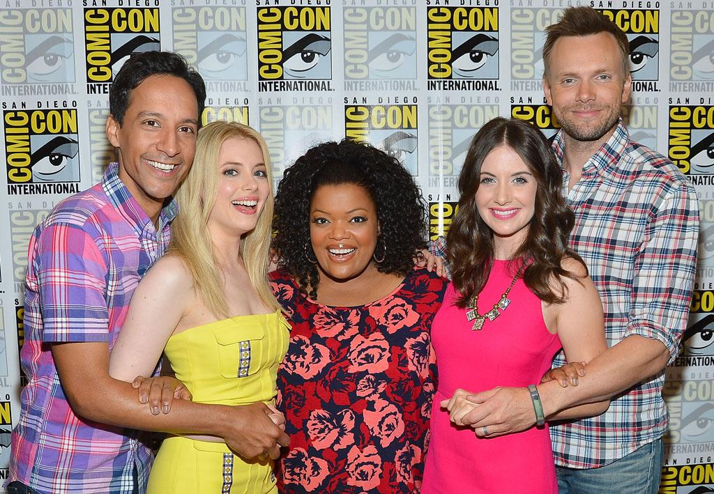 "Actors Gillian Jacobs, Danny Pudi, Yvette Nicole Brown, Joel McHale and Allison Brie attend the ""Community"" Press Room during Comic-Con International 2012 held at the Hilton San Diego Bayfront Hotel on July 13, 2012 in San Diego, California."