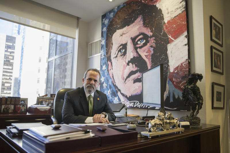 <p> In this Friday, Feb. 17, 2017, photo, Trump Hotels CEO Eric Danziger poses for a portrait in his office at Trump Tower in New York. The Trumps are launching a new hotel chain in a bold expansion of a company that critics say is already too big and opaque for an owner who sits in the Oval Office. Called Scion, the aim is to open dozens in the next three years. (AP Photo/Mary Altaffer) </p>