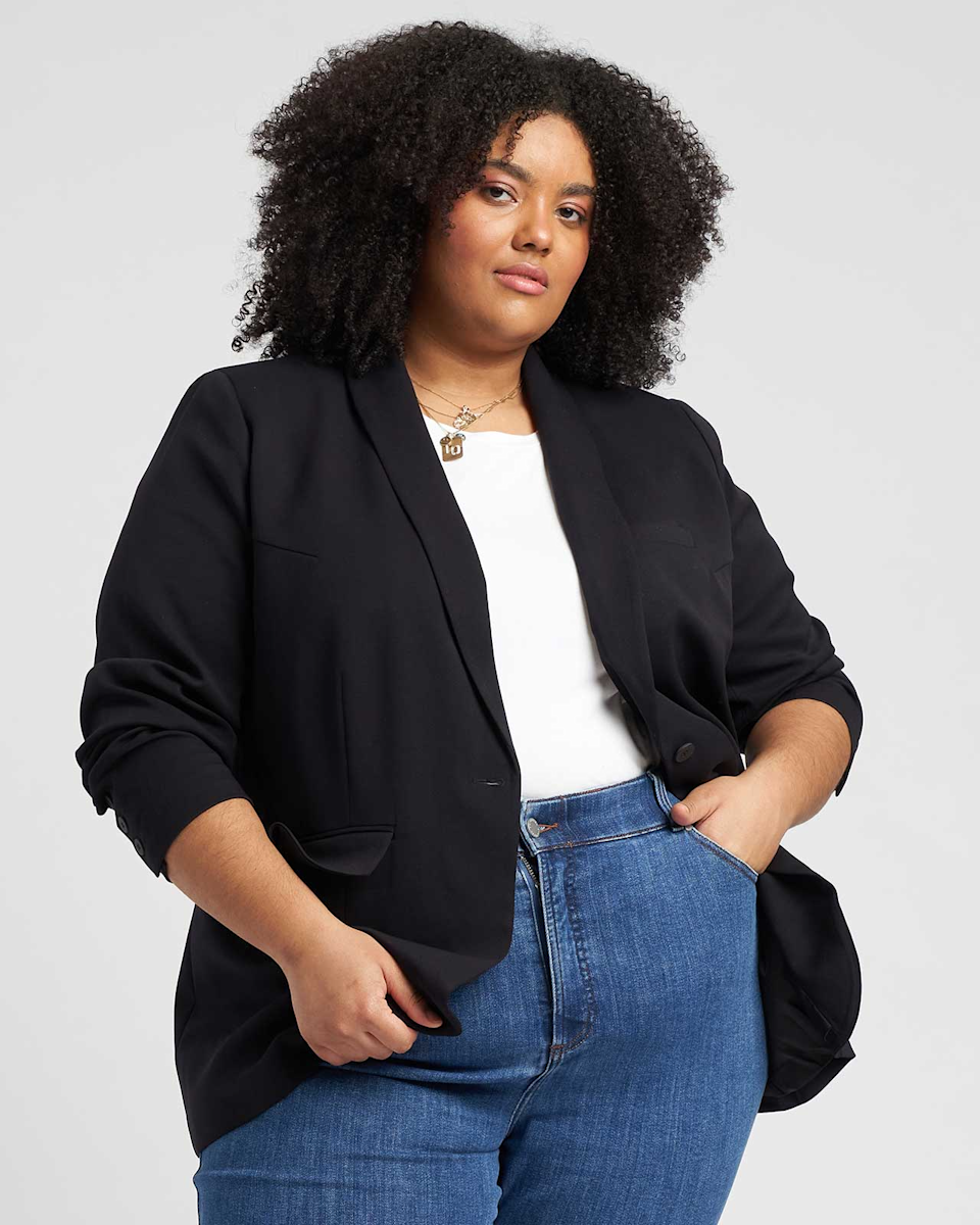 """<h2>Universal Standard Eco Rio Blazer </h2><br>This black blazer from Universal Standard is the only one you'll ever need. It's a classic that can be dressed up <em>and</em> down. And its not surprising: The brand is very good for elevated basics like these that you'll wear over and over again. <br><br><em>Shop </em><a href=""""https://www.universalstandard.com/products/eco-rio-blazer-black"""" rel=""""nofollow noopener"""" target=""""_blank"""" data-ylk=""""slk:Universal Standard"""" class=""""link rapid-noclick-resp""""><em><strong>Universal Standard</strong></em></a><br><br><strong>Universal Standard</strong> Eco Rio Blazer, $, available at <a href=""""https://go.skimresources.com/?id=30283X879131&url=https%3A%2F%2Fwww.universalstandard.com%2Fproducts%2Feco-rio-blazer-black"""" rel=""""nofollow noopener"""" target=""""_blank"""" data-ylk=""""slk:Universal Standard"""" class=""""link rapid-noclick-resp"""">Universal Standard</a>"""