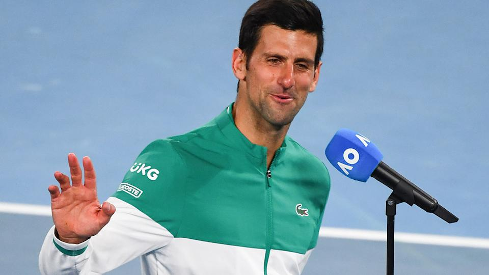 Novak Djokovic, pictured here after beating Jeremy Chardy at the Australian Open.