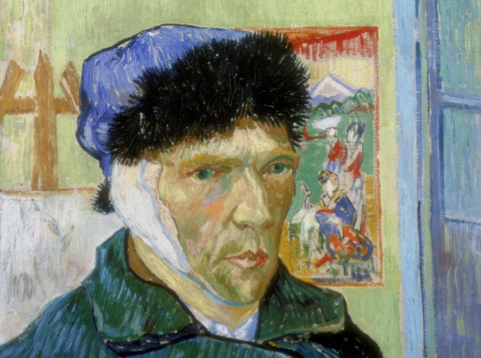 Van Gogh (1853-1890) painted <em>Self-Portrait with Bandaged Ear (</em>1889) after a quarrel with fellow artist Paul Gauguin (1848-1903) at Arles, during which he threatened Gauguin with a razor. In remorse, he cut off part of his own ear. (Photo: Art Media/Print Collector/Getty Images)