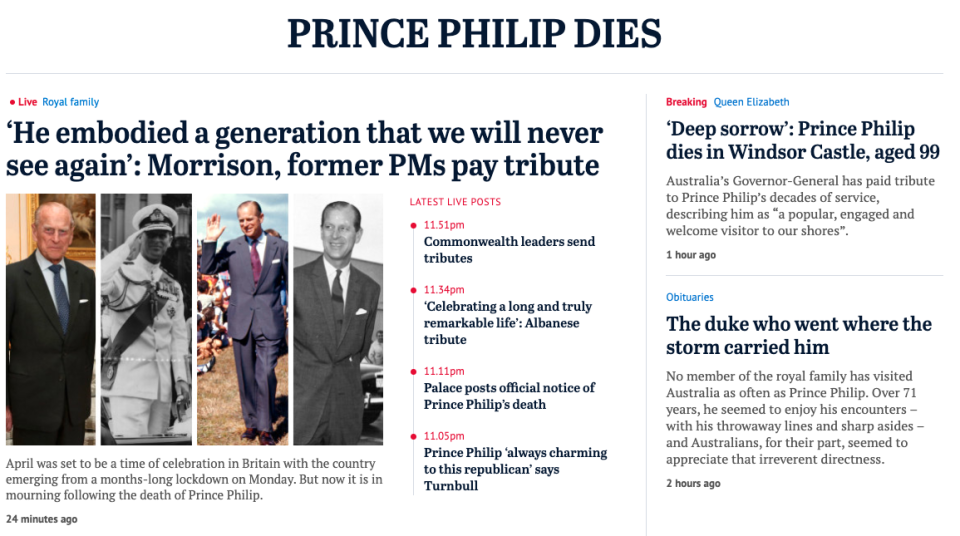 Australia's Sydney Morning Herald hailed the Duke as a man who 'went where the storm carried him'.