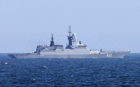 One of the Russian warships being escorted by Royal Navy frigate HMS Sutherland - MoD/MoD