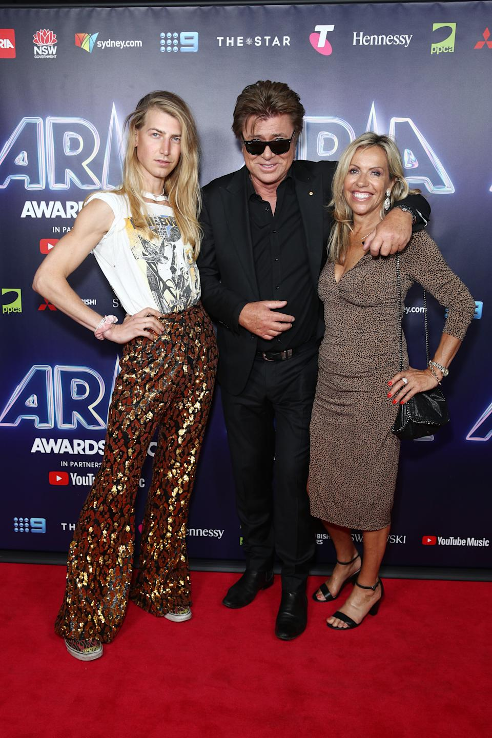 Christian Wilkins, Richard Wilkins and Nicola Dale on the red carpet at the 2020 ARIA Awards at The Star on November 25, 2020 in Sydney, Australia.
