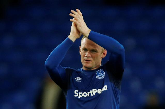 """Soccer Football - Premier League - Everton v Newcastle United - Goodison Park, Liverpool, Britain - April 23, 2018 Everton's Wayne Rooney applauds fans after the match REUTERS/Andrew Yates EDITORIAL USE ONLY. No use with unauthorized audio, video, data, fixture lists, club/league logos or """"live"""" services. Online in-match use limited to 75 images, no video emulation. No use in betting, games or single club/league/player publications. Please contact your account representative for further details."""