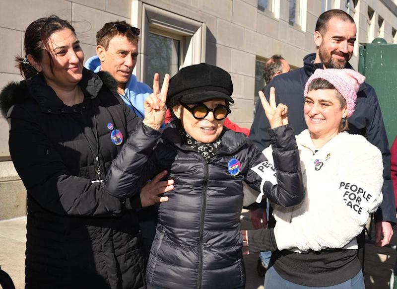 Yoko Ono at the Women's March in New York City