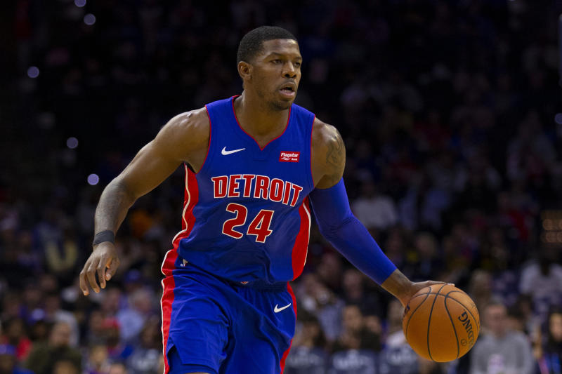 PHILADELPHIA, PA - OCTOBER 15: Joe Johnson #24 of the Detroit Pistons dribbles the ball against the Philadelphia 76ers in the third quarter of the preseason game at the Wells Fargo Center on October 15, 2019 in Philadelphia, Pennsylvania. The 76ers defeated the Pistons 106-86. NOTE TO USER: User expressly acknowledges and agrees that, by downloading and or using this photograph, User is consenting to the terms and conditions of the Getty Images License Agreement. (Photo by Mitchell Leff/Getty Images)