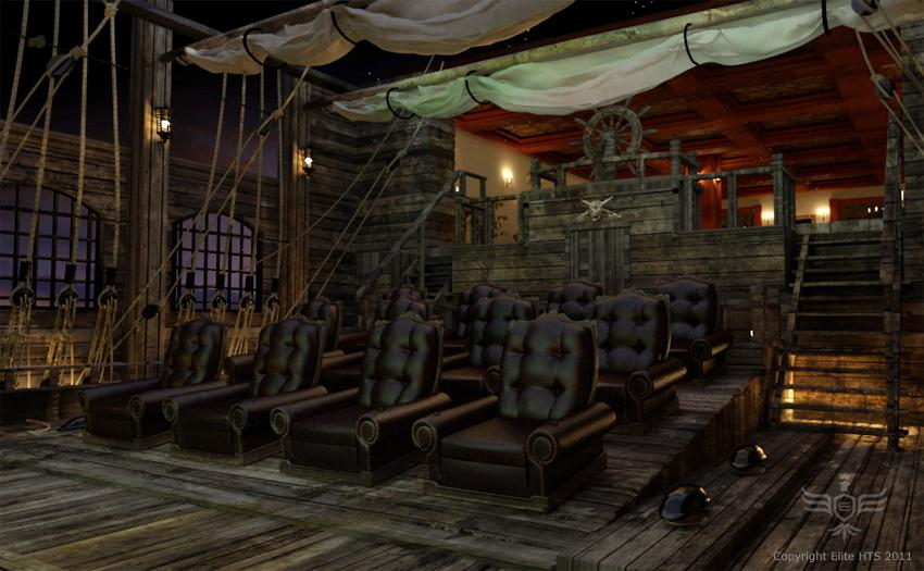 As you can see, this home theater in Florida was designed for a huge fan of Pirates of the Caribbean.  (Photos courtesy Elite Home Theater Seating)