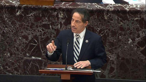 PHOTO: In this image from video, House impeachment manager Rep. Jamie Raskin speaks during the second impeachment trial of former President Donald Trump in the Senate at the U.S. Capitol in Washington, D.C., Feb. 11, 2021.  (Senate Television via AP)