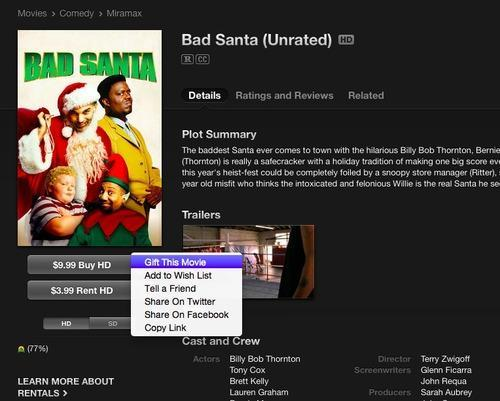 Gift This Movie button on Bad Santa