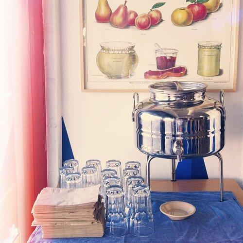 A framed, vintage food print above a buffet station is a feast for the eyes. Source: Instagram user citysage