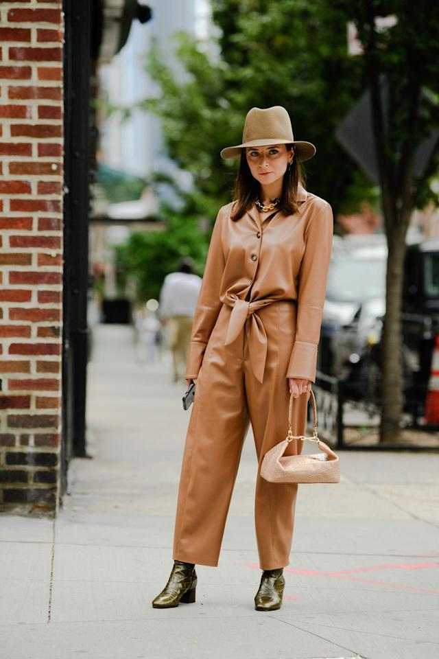 """<p>Autumn's cooler temps mean you can finally break out your new leather pieces. As seen on the <a href=""""http://www.marieclaire.com/fashion/g29024057/spring-fashion-trends-2020/"""" target=""""_blank"""">spring 2020 runways</a>, buttery soft leather is having a moment, and will continue to next year, whether it's as a shirt, dress, or even jumpsuit. Nanushka is the OG of this trend, so investing in a piece from the brand is a must. </p><p><strong>Shop similar:</strong> <em><a href=""""https://www.shopbop.com/rosana-dress-nanushka/vp/v=1/1599605125.htm?fm=search-viewall-shopbysize&os=false"""" target=""""_blank"""">Nanushka dress</a></em><em>, $680</em></p>"""