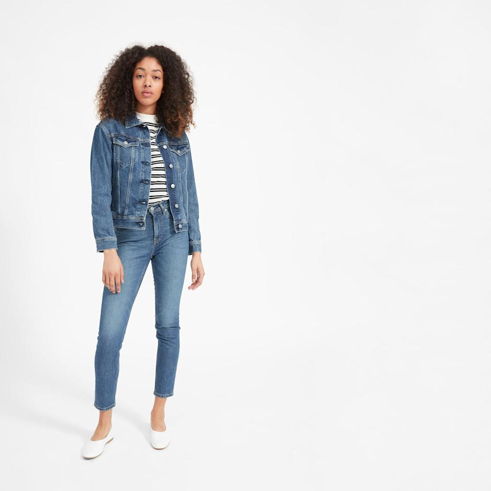 """<p><strong>everlane</strong></p><p>everlane.com</p><p><strong>$62.00</strong></p><p><a href=""""https://go.redirectingat.com?id=74968X1596630&url=https%3A%2F%2Fwww.everlane.com%2Fproducts%2Fwomens-denim-jacket-classic-bluewash&sref=https%3A%2F%2Fwww.goodhousekeeping.com%2Fclothing%2Fg33473194%2Ftransitional-clothing-summer-to-fall%2F"""" rel=""""nofollow noopener"""" target=""""_blank"""" data-ylk=""""slk:Shop Now"""" class=""""link rapid-noclick-resp"""">Shop Now</a></p><p>When in doubt, go with a good old denim jacket! This classic piece is the perfect summer-to-fall outerwear, as it looks just as great layered over a cute floral summer dress as it does paired with a warm sweater and boots. <br></p><p><strong>RELATED:</strong> <a href=""""https://www.goodhousekeeping.com/clothing/g30629018/oversized-denim-jacket-styles/"""" rel=""""nofollow noopener"""" target=""""_blank"""" data-ylk=""""slk:10 Denim Jackets That Are Perfectly Oversized"""" class=""""link rapid-noclick-resp"""">10 Denim Jackets That Are Perfectly Oversized</a></p>"""