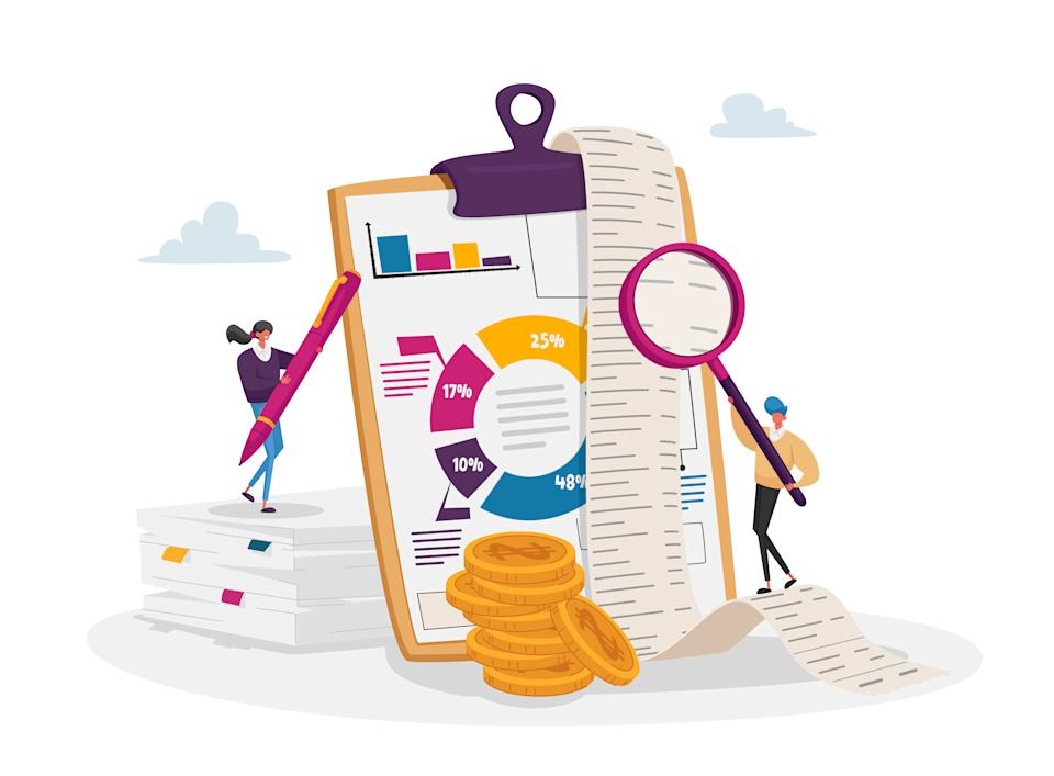 Accounting and Bookkeeping. Tiny Accountant Characters at Huge Clip Board Filling Bookkeeping Data, Graphs and Charts Counting Money Refund. Financial Consulting. Cartoon People Vector Illustration