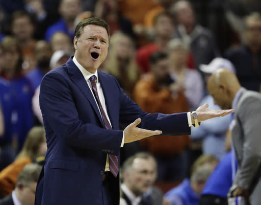 Kansas coach Bill Self reacts to a play during the second half against Texas in Austin on Jan. 29. Texas won 73-63. (AP Photo/Eric Gay)