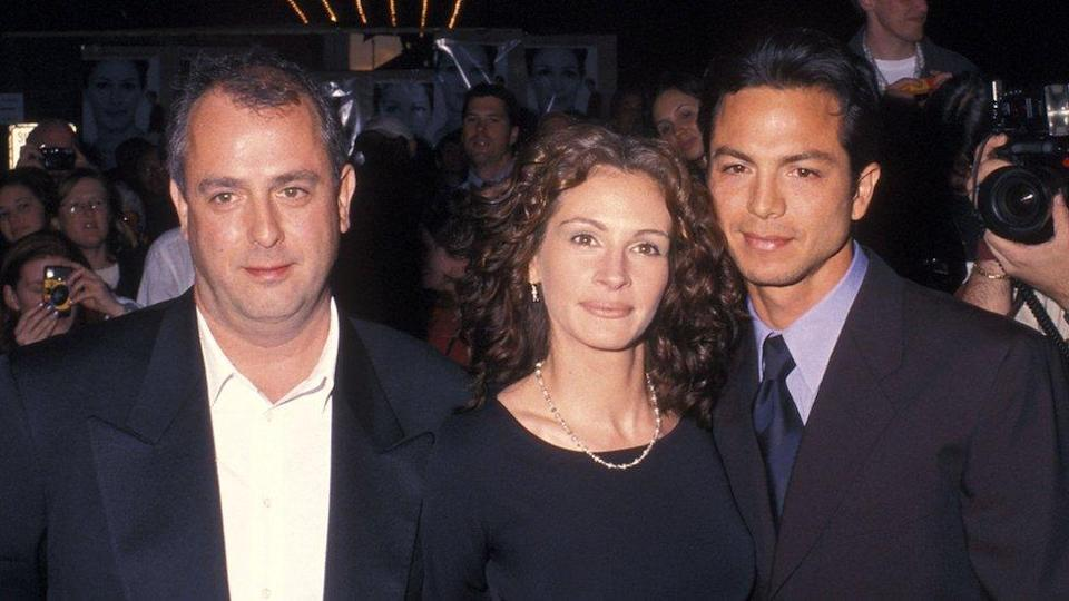 Director Roger Michell, actress Julia Roberts and actor Benjamin Bratt at the Notting Hill New York City Premiere in 1999