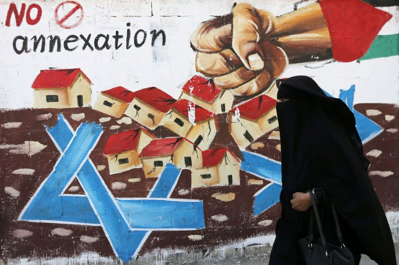 FILE PHOTO: Mural against Israel's plan to annex parts of the Israeli-occupied West Bank