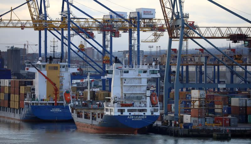 FILE PHOTO: Container ships are berthed at the Port of Belfast