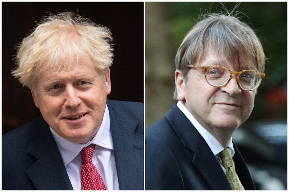 Boris Johnson's Brexit deal was mocked by MEP Guy Verhofstadt, right. (PA)