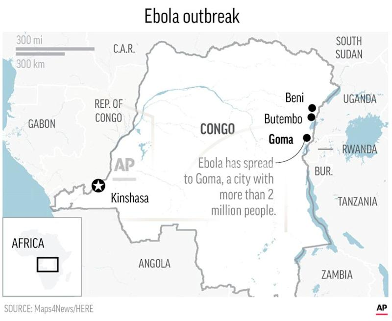 The outbreak has spread to the city of Goma, home to more than two million people. (Photo: AP Graphic)