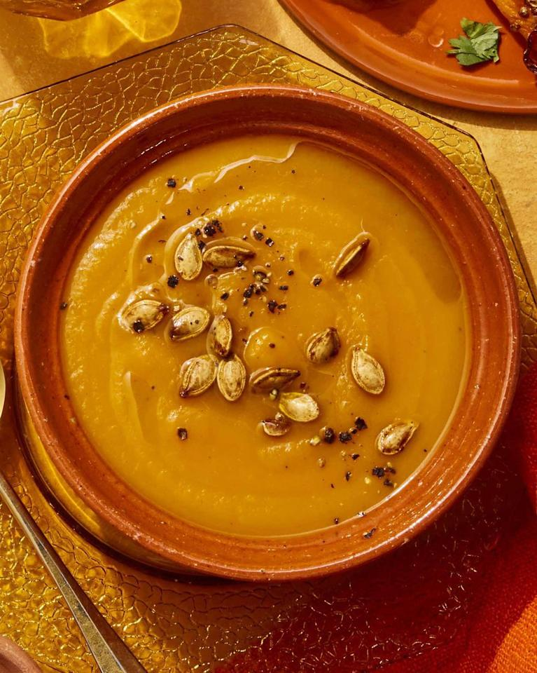 "<p>Piled in on a snowy night? This homemade pumpkin-carrot soup will warm you right up.</p><p><strong><a rel=""nofollow"" href=""https://www.womansday.com/food-recipes/food-drinks/a25782889/pumpkin-carrot-soup-recipe/"">Get the recipe.</a></strong></p>"