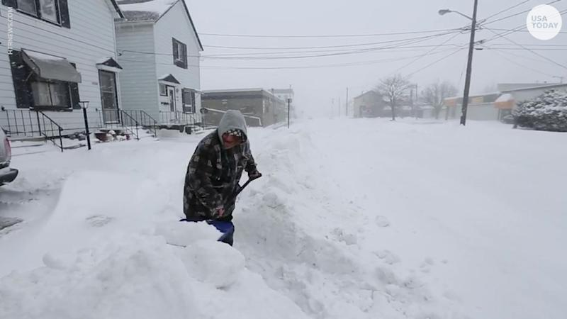 Digging out of the snow in Manitowoc, Wisconsin.