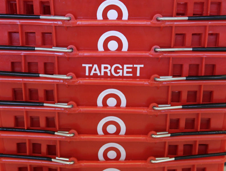 FILE - In this May 20, 2009 file photo, shopping baskets are stacked at a Chicago area Target store. Target says that about 40 million credit and debit card accounts customers may have been affected by a data breach that occurred at its U.S. stores between Nov. 27, 2013, and Dec. 15, 2013. (AP Photo/Charles Rex Arbogast, File)