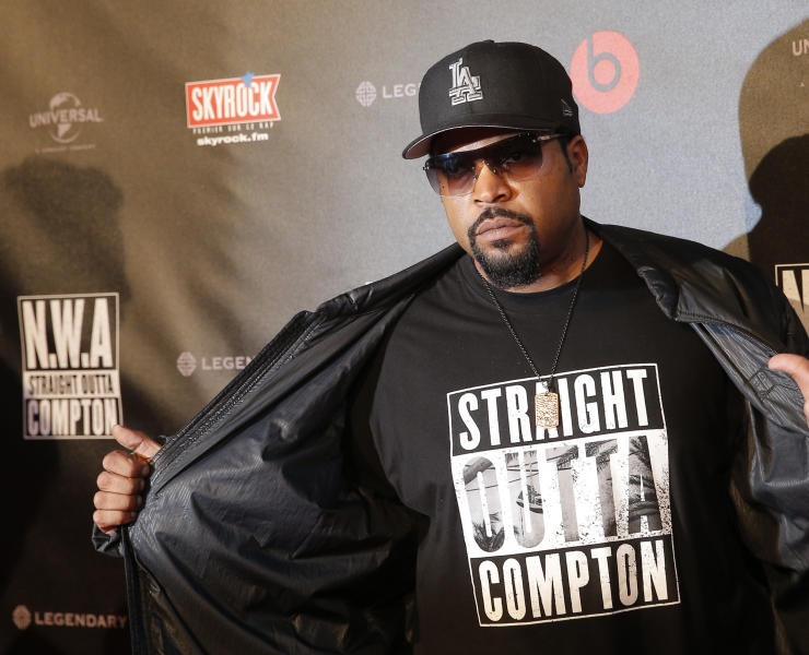 "FILE - In this Aug. 24, 2015 file photo, U.S music producer and rapper O'Shea Jackson, also known by his stage name Ice Cube poses in Paris. The Library of Congress announced Wednesday, March 29, 2017, that N.W.A's album, ""Straight Outta Compton,"" would be preserved for posterity. The library selects 25 recordings every year for the registry in recognition of their historical, artistic or cultural significance. (AP Photo/Christophe Ena, File)"